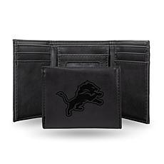Rico Lions Laser-Engraved Black Trifold Wallet