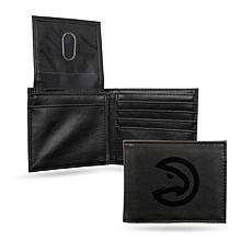 Rico NBA Laser-Engraved Black Billfold Wallet - Hawks