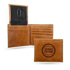 Rico NBA Laser-Engraved Brown Billfold Wallet - Pistons