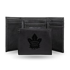 Rico NHL Laser-Engraved Black Trifold Wallet - Maple Leafs