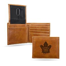 Rico NHL Laser-Engraved Brown Billfold Wallet - Maple Leafs