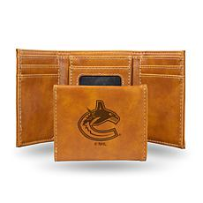Rico NHL Laser-Engraved Brown Trifold Wallet - Canucks