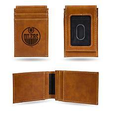 Rico Oilers Laser-Engraved Brown Front Pocket Wallet
