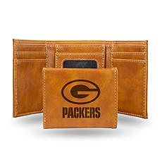 Rico Packers Laser-Engraved Brown Trifold Wallet