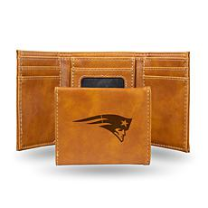 Rico Patriots Laser-Engraved Brown Trifold Wallet