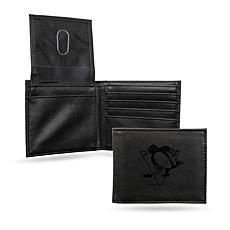 Rico Penguins Laser-Engraved Black Trifold Wallet