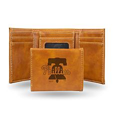 Rico Phillies Laser-Engraved Brown Trifold Wallet
