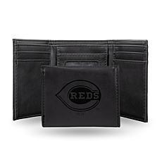 Rico Reds Laser-Engraved Black Trifold Wallet