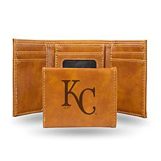 Rico Royals Laser-Engraved Brown Trifold Wallet
