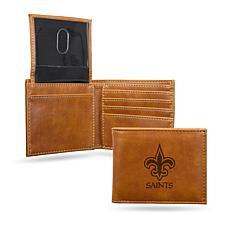 Rico Saints  Laser-Engraved Brown Billfold Wallet