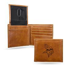 Rico Vikings Laser-Engraved Brown Billfold Wallet