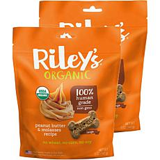Riley's Organics  Peanut Butter & Molasses Large Bone Dog Treats 2 ...