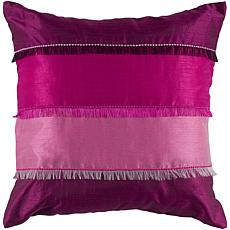 "Rizzy Home 18"" x 18"" Fringe Pillow - Pink/Fuchsia"