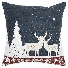 """Rizzy Home Deer Winterscape 20"""" x 20"""" Decorative Throw Pillow"""