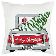 """Rizzy Home Snowman Tree Delivery 20"""" x 20"""" Holiday Throw Pillow"""