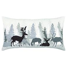 """Rizzy Home """"Woodland Deer Landscape"""" 14"""" x 26"""" Decorative Throw Pillow"""