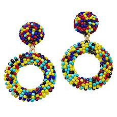 "R.J. Graziano ""Beachy Keen"" Seed Bead Circle Drop Earrings"