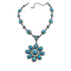 "R.J. Graziano ""Best West"" 16-1/2"" Simulated Turquoise Flower Necklace"