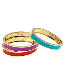 R.J. Graziano Colorblock Enamel 3-piece Bangle Bracelet Set