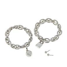 R.J. Graziano Stud Earrings and 2-piece Link Bracelets Set