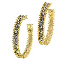 R.J. Graziano  Textured Crystal-Studded Hoop Earrings