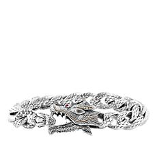 "Robert Manse ""BroManse"" Men's Sterling Silver Dragon Bracelet"