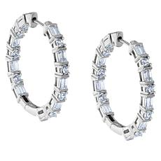 "Robert Manse ""CZ RoManse"" Round and Baguette Hoop Earrings"