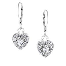 "Robert Manse ""CZ RoManse"" Sterling Silver Heart Drop Earrings"