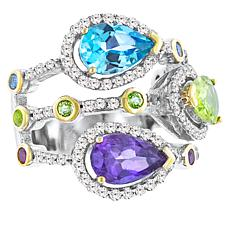 "Robert Manse ""Gem RoManse"" Two-Tone Multi-Colored Multi-Gemstone Ring"