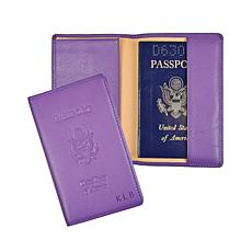 Royce Leather Personalizable RFID Plain Passport Jacket with US Seal