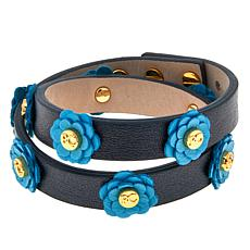 Rustic Cuff Leather Flower Wrap Bracelet