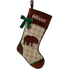 Rustic Woodland Bear Personalized Stocking