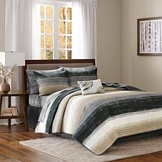 Saben Twin 6-piece Complete Bed and Sheet Set - Taupe