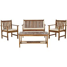Safavieh Burbank 4pc Outdoor Living Set - Brown-Beige