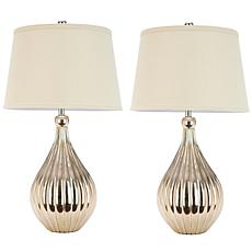 Safavieh Elli Set of 2 Silver Base Lamps