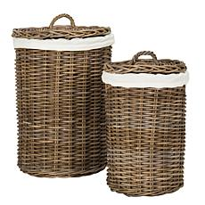 Safavieh Millen Rattan Round Set Of 2 Laundry Baskets