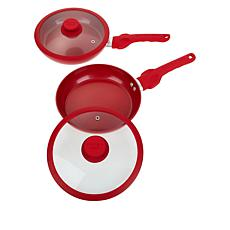 """Safe-T-Grip 2-pack 9"""" Fry Pan Set with Lids"""