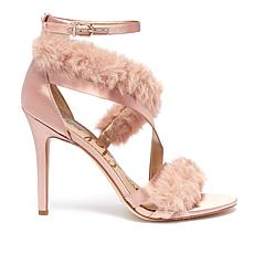 Sam Edelman Adelle Satin and Faux Fur Dress Sandal