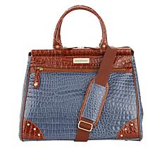 Samantha Brown Nylon and Croco-Embossed Dowel Bag