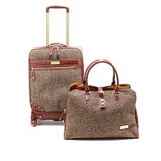 "Samantha Brown Tweed 2pc 21"" Spinner and Shoulder Bag"
