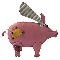 Santa's Workshop Iron Flying Yard Pig