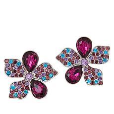 Sassy Jones Callie Pavé and Pear Floral Stud Earrings