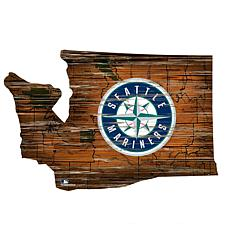 Seattle Mariners 24in. Distressed State w/Logo Sign