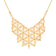 Séchic 14K Angel Skin Coral Bead Floral Bib Necklace