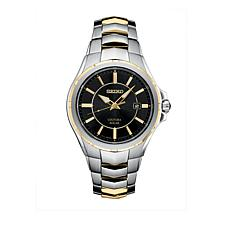 Seiko Men's 2-tone Stainless Steel Black Dial Solar-Powered Watch