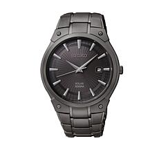 Seiko Men's Black Stainless Steel Solar Watch