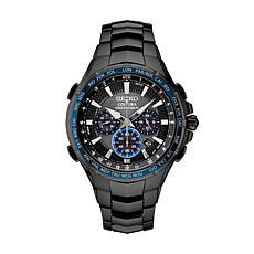Seiko Men's Coutura Black Stainless Steel Radio Sync Solar Watch