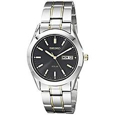 Seiko Men's Stainless Steel and Goldtone Black Dial Solar Watch