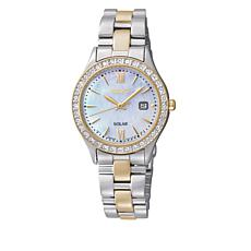 Seiko Women's 2-tone Mother-of-Pearl Dial Crystal-Accented Watch