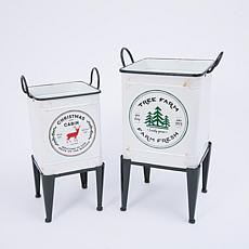 Set of 2 Metal Footed Holiday Containers on Stands